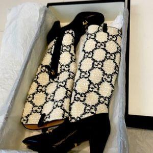 Gucci Tweed Boots Black